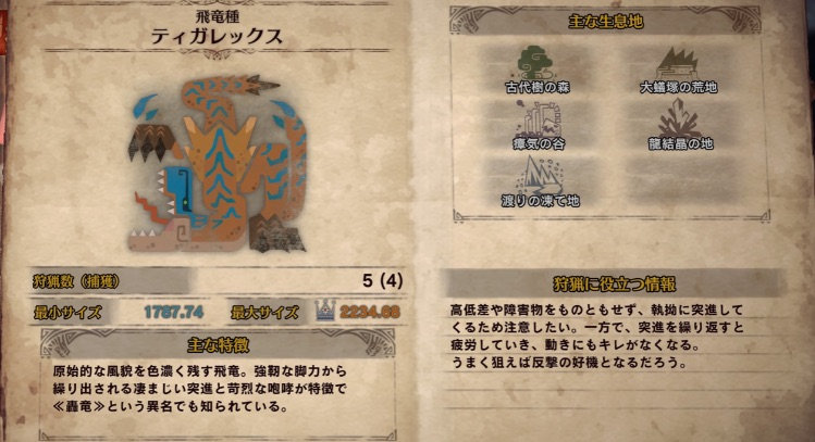 【MHWアイスボーン】ティガレックス攻略!基本情報